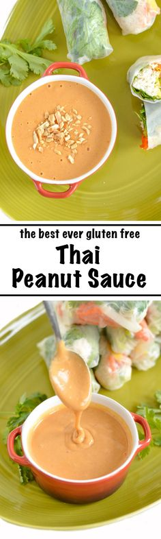 The Best Ever Thai Peanut Dipping Sauce | nourishedtheblog.com | The best ever gluten free (and vegan) Thai peanut sauce perfect for dipping fresh salad rolls. Click through for this awesome recipe!
