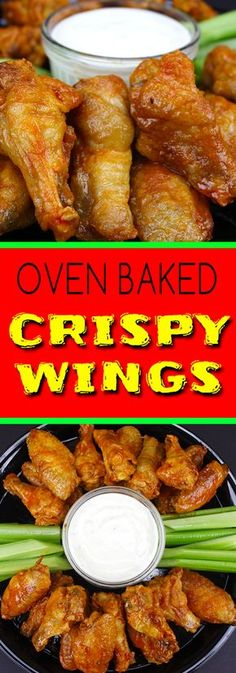 Crispy Oven Baked Chicken Wings - The trick to extra crispy oven baked wings! No more deep frying. Oven Baked Chicken Wings, Crispy Baked Wings, Keto Chicken Wings, Baked Wings Recipe, Crispy Buffalo Wings Recipe, Baking Powder Chicken Wings, Deep Fry Chicken Wings, Oven Hot Wings, Healthy Wings Recipe
