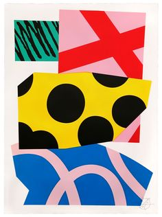 Loose Ends 7 colour hand-pulled screenprint Imperial Somerset Satin White stock Hand-torn decal edge x Hand signed and numbered (front) Limited edition of 20 Graphic Design Illustration, Graphic Art, Illustration Art, Kids Prints, Bold Prints, Graphic Patterns, Print Patterns, Create Color Palette, Collage