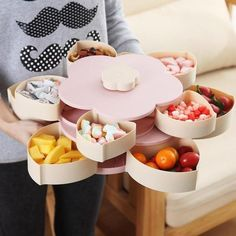 Petal-Shape Rotating Snack Box Candy Tray Food Storage Box Fruit Organizer We use food contact grade pp material, safe and healthy Petal-shaped separation design, which makes snacks and dried fruits better classified, does n. Cool Kitchen Gadgets, Cool Kitchens, Movie Night Snacks, Food Storage Boxes, Deck Storage, Extra Storage, Snack Box, Candy Boxes, Cooking Gadgets