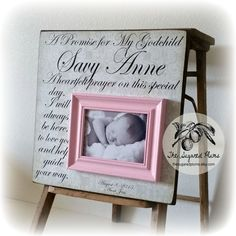 Baptism Gift Goddaughter Godson Baby Girl First Birthday A Promise For My Godchild16x16 The Sugared Plums Frames