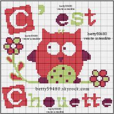 chouette - great - Point de croix - cross stitch - Blog : http://broderiemimie44.canalblog.com/