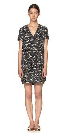 Granite Print Silk Tunic Dress