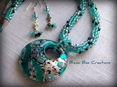 Seafoam Kumihimo Necklace with Fire Polish by BizeeBeeCreations, $145.00