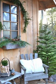 Faded Charm: Christmas on the Garden House Porch