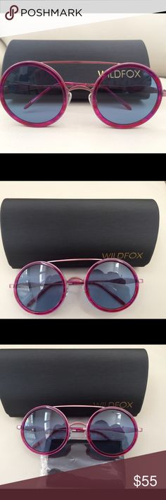 Wildfox Winona round sunglasses Details - Gender: Women's - Name: Fireworks - Style: Round double bridge fashion - Size: 50-17-135mm (eye-bridge-temple) - Frame: Metal with acetate - Color: Fireworks, Wet Paint - Lens type: CR39 - Lens color: Grey gradient (Fireworks), blue (Wet Paint) - Protection: 100% UVA/UVB - Nose pads - Hinge: 3 Barrel French Comotec - Case included - Imported Wildfox Accessories Sunglasses
