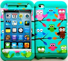 """myLife 2 Layered Protection Hybrid Case for Apple iPod 4 iTouch {Teal, pink and Green """"Cute Perched Owls"""" Three Piece SECURE-Fit Rubberized Gel} myLife Brand Products http://www.amazon.com/dp/B00VU31SZW/ref=cm_sw_r_pi_dp_qvdmvb0PCY3BZ"""