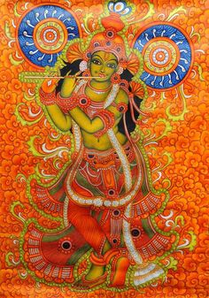 Find beautiful South Indian Paintings from Tanjore & Mysore. We also have intricate Gold Leaf Paintings at ExoticIndia, the online Indian Paintings store. Kalamkari Painting, Krishna Painting, Madhubani Painting, Krishna Art, Shiva Art, Krishna Images, Kerala Mural Painting, Indian Art Paintings, Madhubani Art