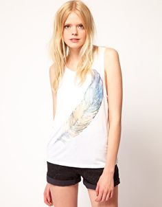 Enlarge Just Female Feather Print Jersey Vest