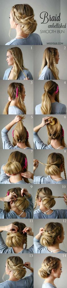 Tips To Instantly Make Your Hair Look Thicker - How To: Pull-Through BraidBraid Embellished Smooth Bun Easy Braid Hairstyle - DIY Products, Step By Step Tutorials, And Tips And Tricks For Hairstyles That Make Your Hair Look Thicker. Hair Styles Like An Up