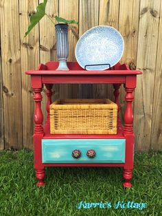 Hand painted 1930s wash stand  Hand painted side table with red and blue  Red  white and blue painted furniture and knobs  Distressed with layered paint   White distressed farmhouse  old sewing table furniture makeover  . Red White And Blue Painted Furniture. Home Design Ideas