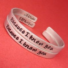 Because I knew you Glinda & Elphaba Friendship Bracelets - inspired by the musical Wicked these bracelets are stamped with the lyric from For