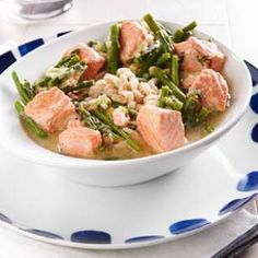~Salmon & Asparagus Farro Bowl Recipe~ This looks so enticing -a perfect spring meal when leeks & asparagus are in season. Excited to buy miso paste for the first time.