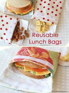 Reusable Lunch Bags (sewing tutorial) Diy Projects For The Home Bags Lunch Reusable sewing Tutorial Sewing Hacks, Sewing Tutorials, Sewing Tips, Bags Sewing, Tutorial Sewing, Sewing Notions, Sewing Ideas, Sac Lunch, Reusable Lunch Bags