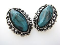 Shoe Clips Repurposed from Vintage Jewelry Turquoise Markings and Silver Tone Filigree on Etsy, $18.00