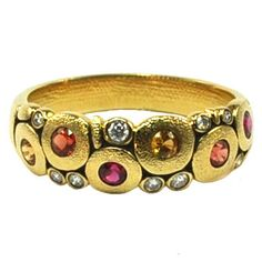 """Alex Sepkus 18K Yellow Gold Sapphire and Diamond """"Candy"""" Dome Fire Mix · R-122S_Fire Mix · Ben Garelick Jewelers"""