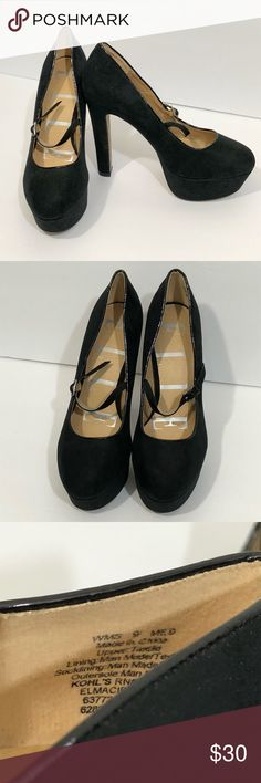 Women's ELLE soft black heels sz 9 M Maryjane Women's ELLE heels in a size 9 M. They are black Maryjane style heels. They have a soft, faux suede type feel to them. They are in good used condition. They come from a smoke free, pet friendly home. Elle Shoes Heels