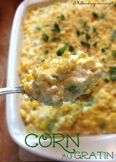 Iowas Corn Au Gratin recipe - bet this would make a delicious Thanksgiving or Christmas dinner side dish!