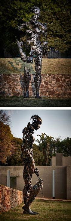 "Johannesburg-based artist Regardt van der Meulen has sent us photos of his latest sculpture, called ""I am just the pieces,"" which stands 13 feet (4 metres) tall."