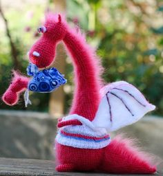 Pink dragon and his baby  crocheted and felted fairy von farberovao, $100,00    Inspiration