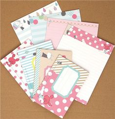 cute Chou-fleur bunny Letter Set dots stripes