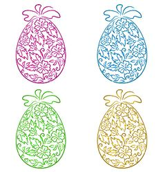 Set ornamental eggs in floral style for easter vector by smeagorl on VectorStock®