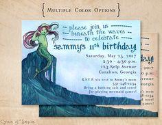 Printable Customized Birthday Invitation - 5 x 7 - Mermaid Fairy Tale - Storybook, Vintage Book, Ocean Theme, Blue, Antique : Cyan & Sepia : https://www.etsy.com/listing/522329709/printable-birthday-invitation-5-x-7