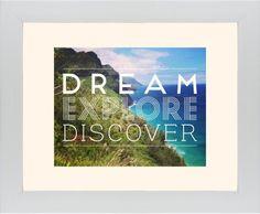 Dream Explore Discover Framed Print, White, Contemporary, None, Cream, Single piece, 11 x 14 inches, White