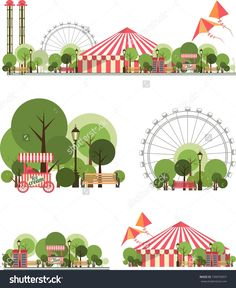 urban amusement park circus tent roundabouts in the sky kites and balloons for large format printing on white and transparent background consist of several compositions - stock vector Landscape Illustration, Flat Illustration, Character Illustration, Adobe Illustrator, Realistic Sketch, Up Book, Art Graphique, Park City, Amusement Park
