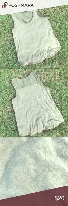 Olive Green Slouchy Banana Republic Tank NO RIPS! NO TEARS! NO WEAR AND TEAR! This has a slouchy fit and is very comfortable. Only worn twice. I love it but it's too big for me now. Perfect for summer weather.  Dress it up or dress it down! Banana Republic Tops Tank Tops