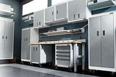 Gladiator Everest White Cabinets Workbench With Modular Docked Underneath Gearwall Channel And Metal Shelves