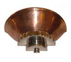 Original Art Deco copper and chrome wall light. Art Deco Wall Lights, Art Deco Lamps, Art Deco Lighting, Ceiling Lights, Color Bronze, Light Art, Household Items, Art Boards, Art Nouveau