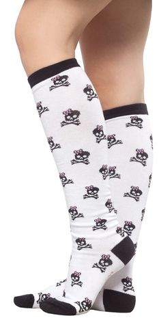 "SOURPUSS 17"" BOW SKULL SOCKS WHT"