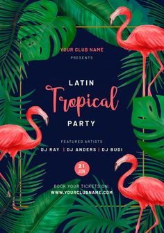 Tropical party poster with pink flamingos Free Vector Safari Theme Birthday, Happy Birthday Bunting, Aloha Party, Luau Party, Flamingo Party, Havanna Nights Party, Beach Party Invitations, Tropical Bridal Showers, Creative Flyers