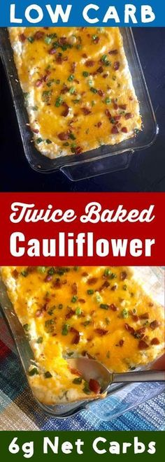 Twice Baked Cauliflower Faux-tatoes [Low Carb & Keto] - Resolution Eats - Cauliflower takes the place of potatoes in this low carb twice baked cauliflower recipe. It's Ket - Baked Cauliflower Casserole, Twice Baked Cauliflower, Keto Cauliflower, Cauliflower Ideas, Colliflower Recipes, Banting Recipes, Low Carb Recipes, Low Carb Califlower Recipes, Baked Coliflower