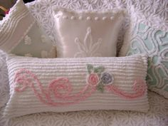 Vintage Chenille Bolster / Pillow 28 x 14 Pink Scrolls by TWFaith❤❤❤