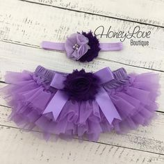 SET Lavender Grape Purple diaper cover ruffle tutu skirt bloomers, pearl rhinestone flower headband bow, newborn infant toddler baby girl newborn photo shoot prop birthday outfit by HoneyLove Boutique