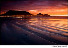 Table Mountain Sunset by David Morris, via Cape Town Photography, Table Mountain Cape Town, Mountain Sunset, Most Beautiful Cities, African Beauty, Sunsets, Travel Photos, Monument Valley, South Africa