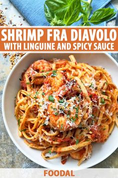 When your pasta is lacking pizzazz, try this crazy easy, super fiery shrimp fra diavolo. This sassy seafood dish features shrimp spiked with spicy red pepper flakes, tossed with juicy tomatoes, salty Spicy Shrimp Pasta, Seafood Pasta Recipes, Shrimp Dishes, Fish Recipes, Seafood Noodle Recipe, Pasta With Seafood, Sheimp Pasta, Seafood Linguine, Linguine Recipes