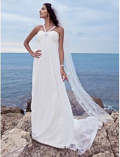 A-linje Hjärtformad urringning Watteausläp Chiffong Bröllopsklänning med Bård av LAN TING BRIDE®