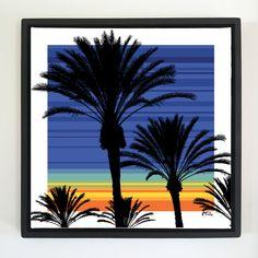 "Overflow series: ""Dawn & Palm"" 24 x 24 inch, digital art & gloss and matte gel on stretched canvas. 26.5 x 26.5 inch, float frame - black flat. ---------------------------------------- #popart #popartist #digitalart #contemporaryart #colorfield #abstractart #gloss #matte #art #canvas #jonsavagegallery"
