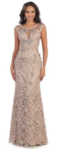 This elegant floor length formal dress features cap sleeve, rhinestone, round ne… – mother of the bride dress – Elegant Dresses Elegant, Trendy Dresses, Nice Dresses, Casual Dresses, Best Plus Size Dresses, Wedding Dresses Plus Size, Dress Wedding, Lace Wedding, Plus Size Evening Gown