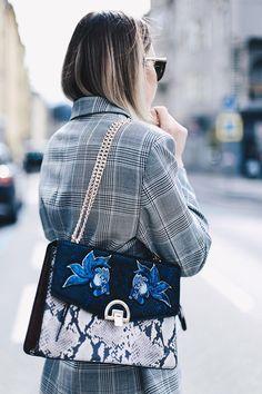 dcdc7ce75b0 plaid blazer and embroidered snakeskin bag Oversized Blazer