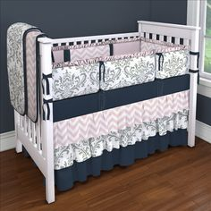 Gray Traditions With Navy And Pink Custom 4 Piece Crib Bedding Set