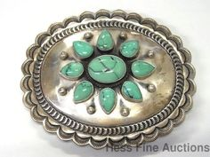 Signed Randy Boyd Navajo American Indian Sterling Silver Turquoise Concho Buckle