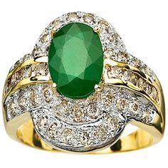 BIG 1.82 CT GENUINE EMERALD & 16PCS WHITE DIAMOND 14K SOLID YELLOW GOLD RING