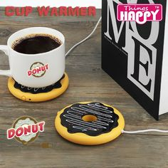 Giant Donut USB Cup warmer,Hot Cookie Mug Warmer Coaster Office Tea Coffee Beverage USB powered Heater Biscuit Tray Pad