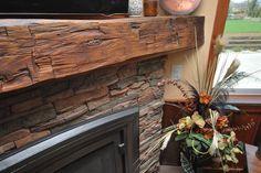 Grandpa's oak hand-hewn barn wood for mantle
