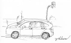 I sketched a car by ball-point pen in five minutes yesterday.