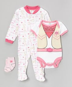 Take a look at this Pink Cowgirl Footie Set - Infant on zulily today!